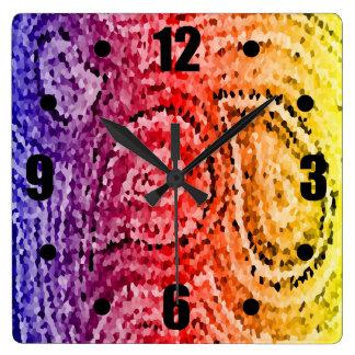 Colorful Abstract Mosaic Paisley Pattern Square Wall Clock