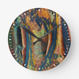 Colorful abstract of a Tiger eye Round Clock