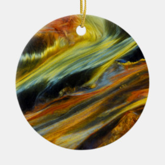 Colorful abstract of Pietersite Round Ceramic Decoration