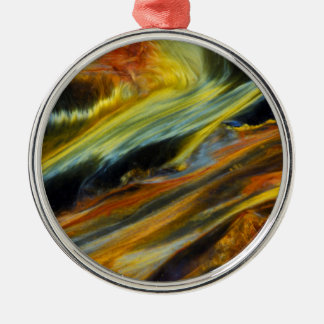 Colorful abstract of Pietersite Silver-Colored Round Decoration