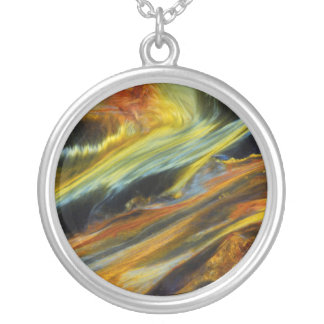 Colorful abstract of Pietersite Silver Plated Necklace