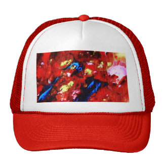 Colorful abstract oil painting mesh hats