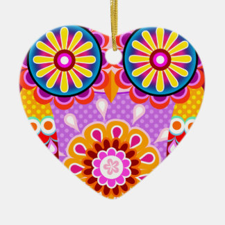 Colorful Abstract Owl Ornament