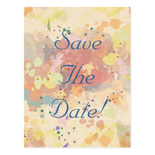 Colorful Abstract Paint Splash Save The Date Postcards