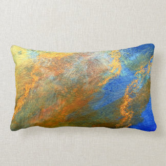 Colorful Abstract Painted Blue Gold Yellow Pillow