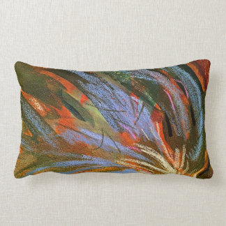 Colorful Abstract Painted Blue Red Green Pillow