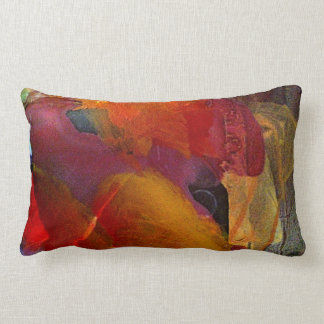 Colorful Abstract Painted Burgundy Pillow