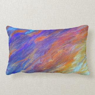 Colorful Abstract Painted Rainbow Pillow