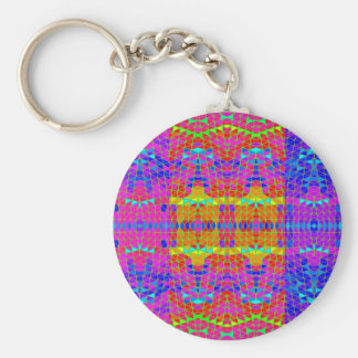 Colorful Abstract Pattern: Basic Round Button Key Ring