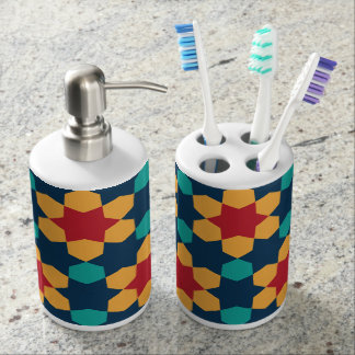 Colorful abstract pattern bath accessory set