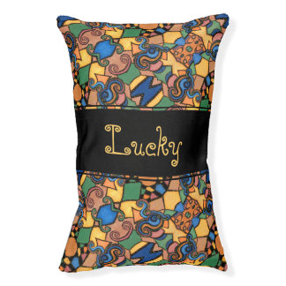 Colorful Abstract Pattern Custom Pet Name Pet Bed