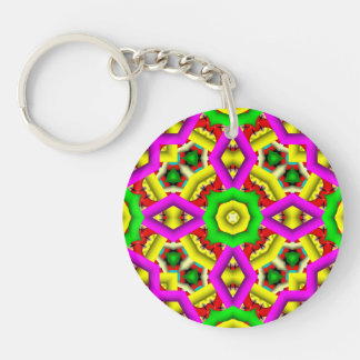 Colorful abstract pattern Double-Sided round acrylic key ring