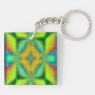 colorful abstract pattern Double-Sided square acrylic key ring