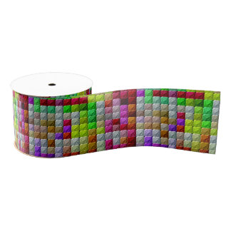 Colorful abstract pattern grosgrain ribbon