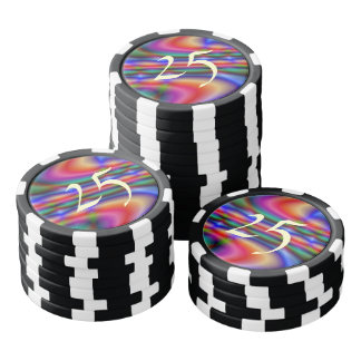 Colorful abstract pattern poker chips