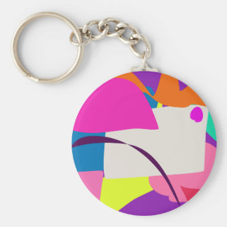 Colorful Abstract Picture Basic Round Button Key Ring