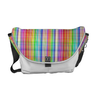 Colorful abstract plaid pattern messenger bag