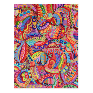 Colorful Abstract Postcard - Detailed Funky Art