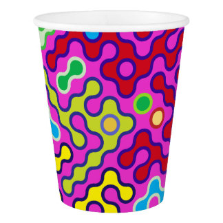 Colorful Abstract Psychedelic Pop Art Pattern Paper Cup