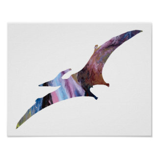 Colorful abstract Pterodactyl silhouette Poster