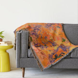 Colorful Abstract Purple And Brown Background Throw Blanket