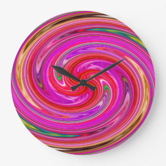 Colorful Abstract Purple And Lilac Whirls Large Clock