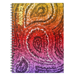 Colorful Abstract Red Mosaic Paisley Pattern Notebook
