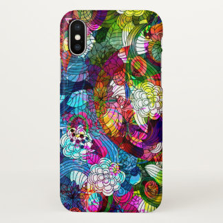 Colorful Abstract Retro Flowers Collage iPhone X Case