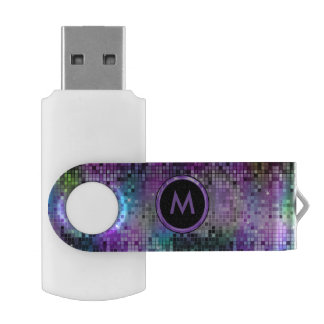 Colorful Abstract Retro Geometric Glitter USB Flash Drive