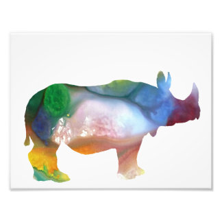 Colorful abstract Rhinoceros silhouette Photo Print