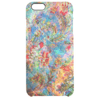 Colorful Abstract Rustic Floral Design Clear iPhone 6 Plus Case