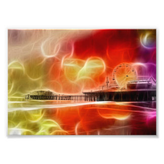 Colorful abstract Santa Monica Pier Photo Print