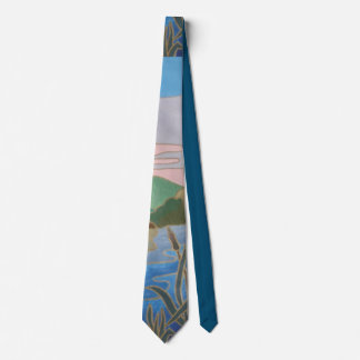 colorful abstract shapes gold outline design tie