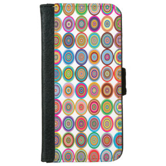 Colorful Abstract Small Concentric Circles Art iPhone 6 Wallet Case