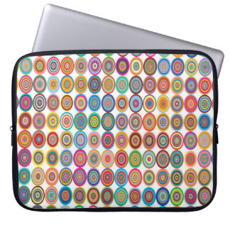 Colorful Abstract Small Concentric Circles Art Laptop Sleeve