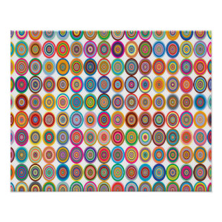 Colorful Abstract Small Concentric Circles Art Poster