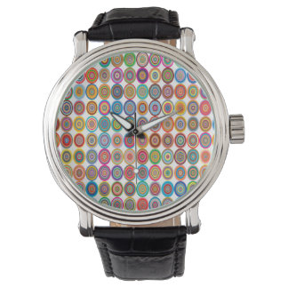 Colorful Abstract Small Concentric Circles Art Wristwatch