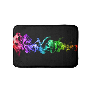Colorful Abstract Smoke - A Rainbow in the Dark Bath Mats