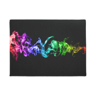 Colorful Abstract Smoke - A Rainbow in the Dark Doormat