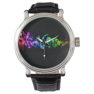 Colorful Abstract Smoke - A Rainbow in the Dark Wrist Watch