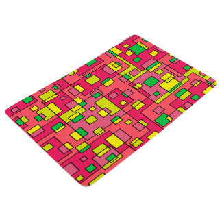 Colorful Abstract Square-Red Yello Green Backgroun Floor Mat
