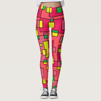 Colorful Abstract Square-Red Yello Green Backgroun Leggings