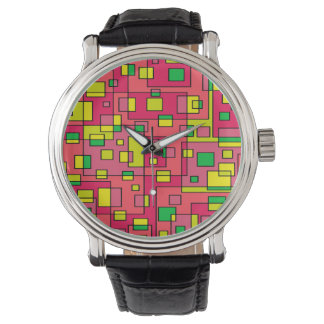 Colorful Abstract Square-Red Yellow Green Watch