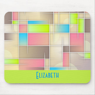 Colorful Abstract Squares Geometric Pattern Mouse Pad