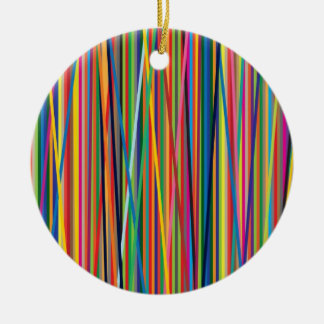 Colorful abstract stripes design round ceramic decoration