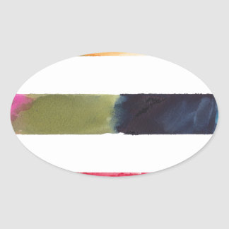 Colorful Abstract Stripes Oval Sticker