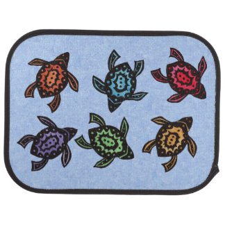 Colorful Abstract Swimming Turtles Car Mat