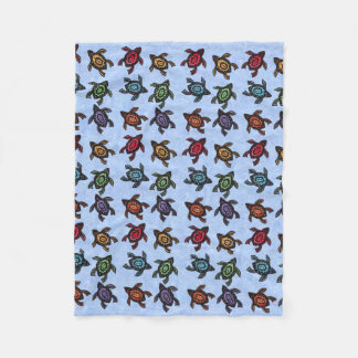 Colorful Abstract Swimming Turtles Fleece Blanket