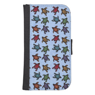 Colorful Abstract Swimming Turtles Samsung S4 Wallet Case