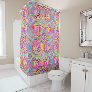 Colorful Abstract Swirl Pattern Shower Curtain